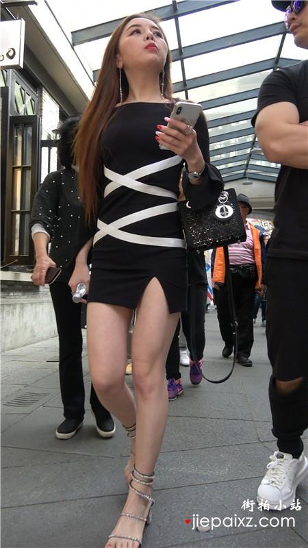 4k-超性感黑色包臀裙美腿街拍美女