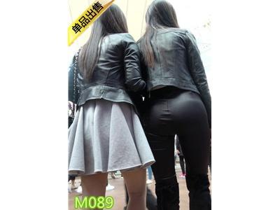 [皮裤] 4K-街拍黑色紧身皮裤极品饱满圆润翘臀长发美女M089[2.04G]