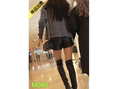 [热裤短裤] 4K-四个黑色皮短裤圆润翘臀长腿美眉M040[922M]